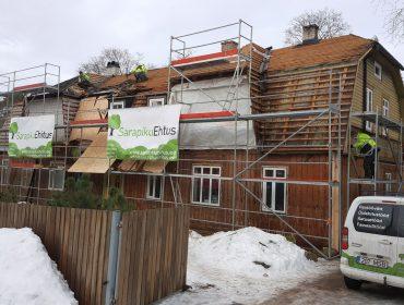 Kortermaja renoveerimine. Sokli, fassaadi ja katuse renoveerimine. Akende vahetus. Ventilatsiooni ehitus.